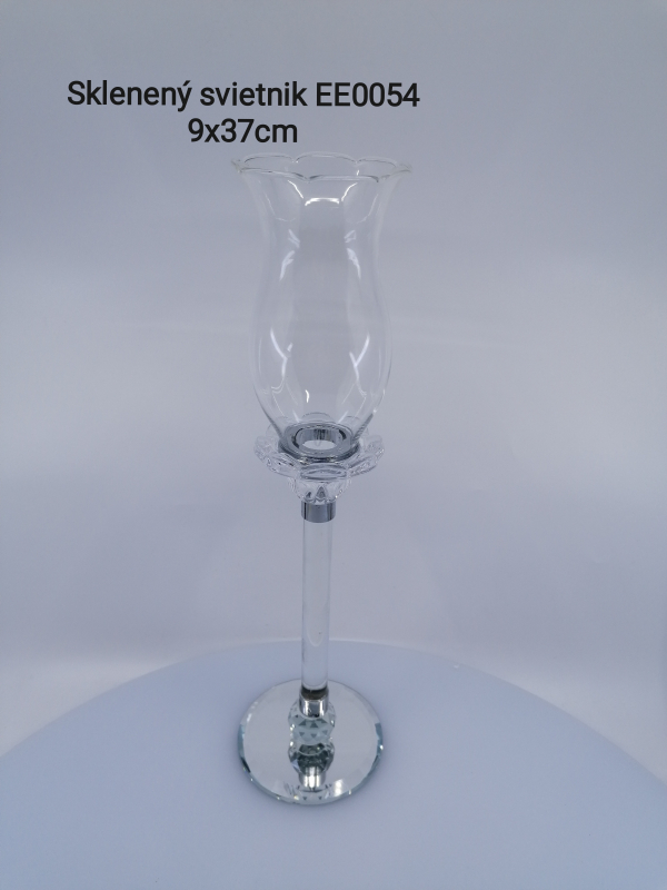 Svietnik zo skla na stopke  37x9 cm