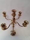 Kovový svietnik zlatý 5- ramenný na konické sviečky  63 CM