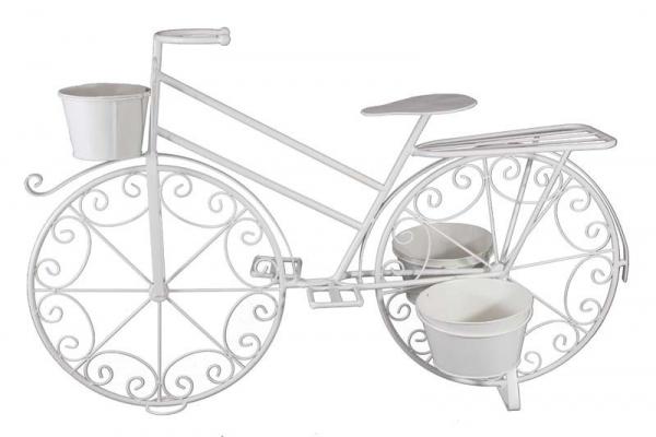Stojan na kvety v tvare bicykla, kovový, biely, 65x103x38 cm