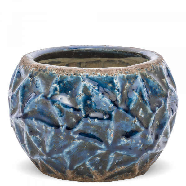 Kvetináč, modrý, 13x17x17 cm