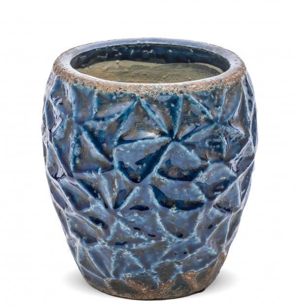 Kvetináč, modrý, 21x19x19 cm