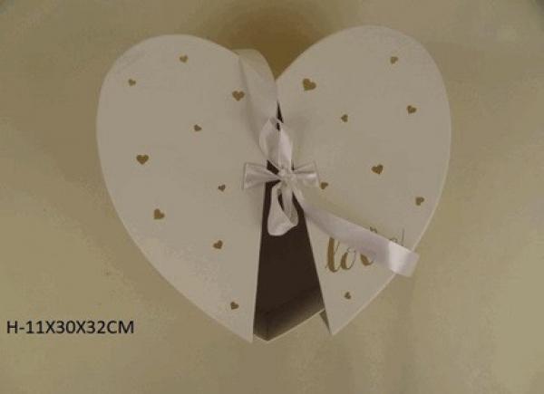 Flowerbox srdce, biely - dekoračné srdcia, 30x32x11 cm