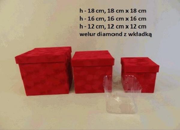 Flowerbox, červený, velúrový, 3 ks