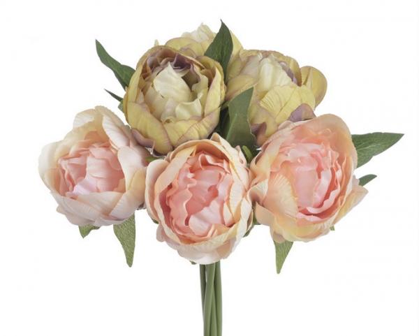 Umelá kytica žltých a ružových Pivónií 27cm