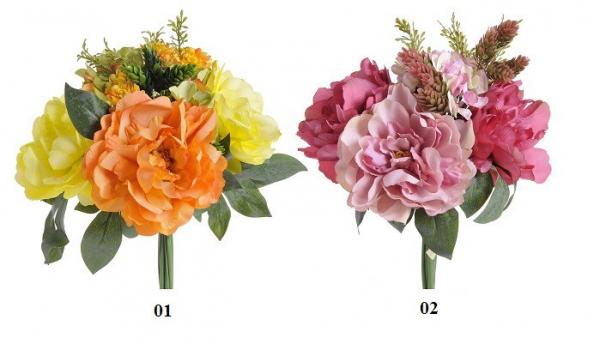 Umelá kytica kvetov, 2 farebné variácie, 38 cm